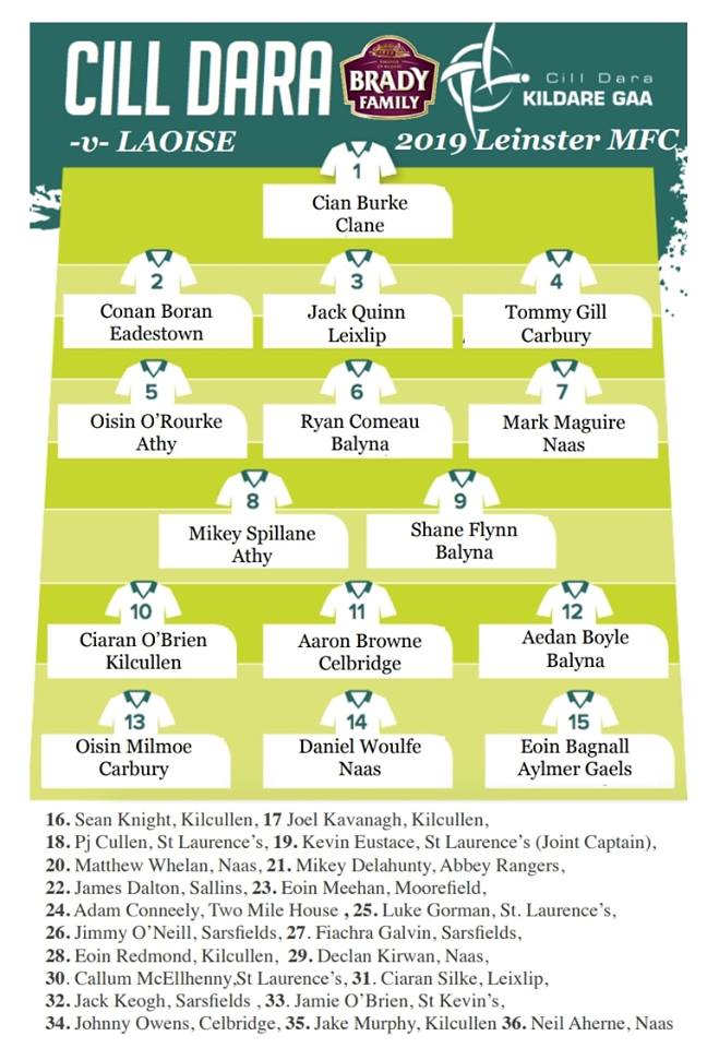 Team News: Leinster MFC Semi-Final Kildare v Laois | Kildare GAA
